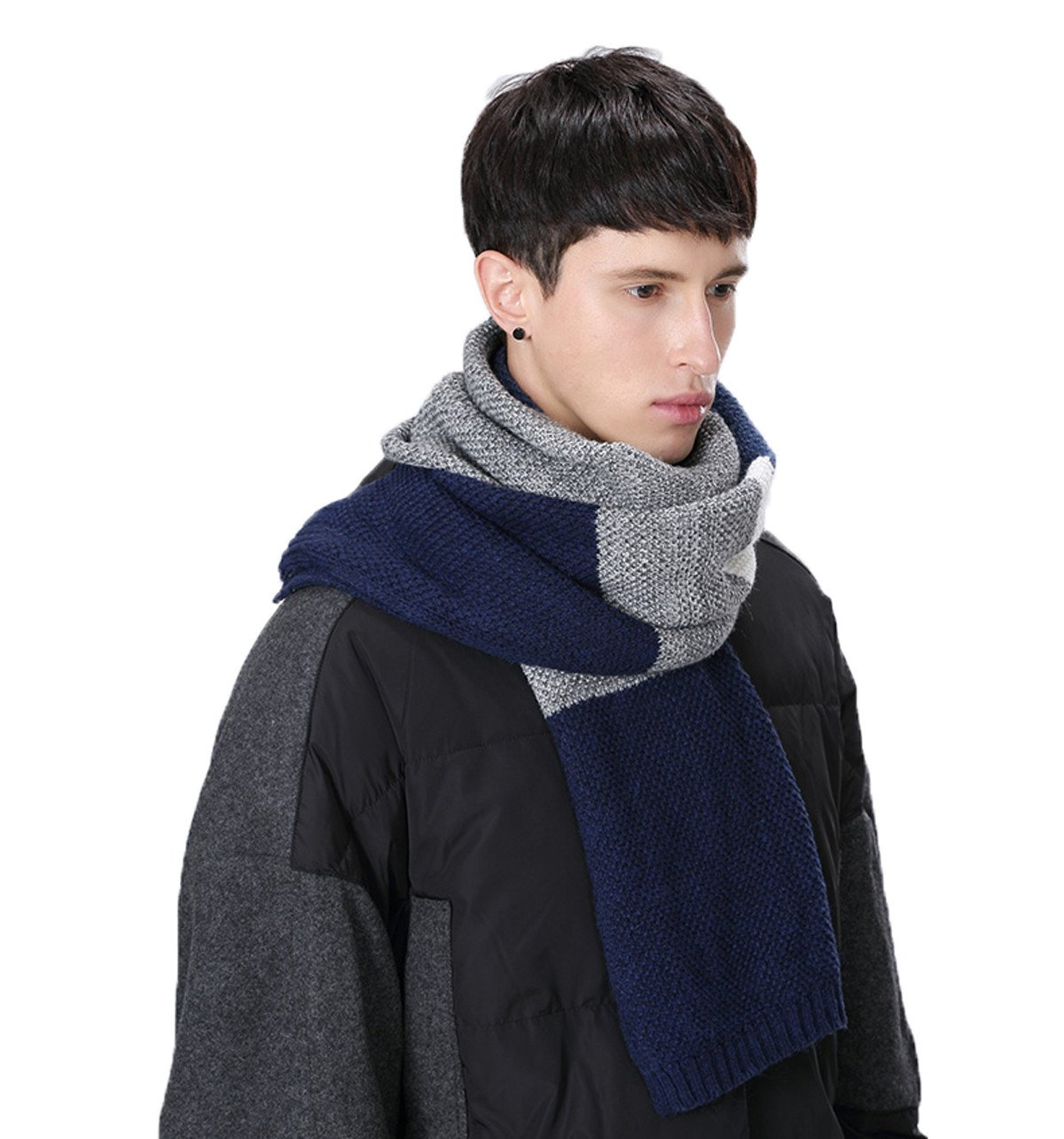 Men's Winter Scarf, Color Block Striped Long Scarf Knit Wool Cashmere Feel Soft Fashion Scarves