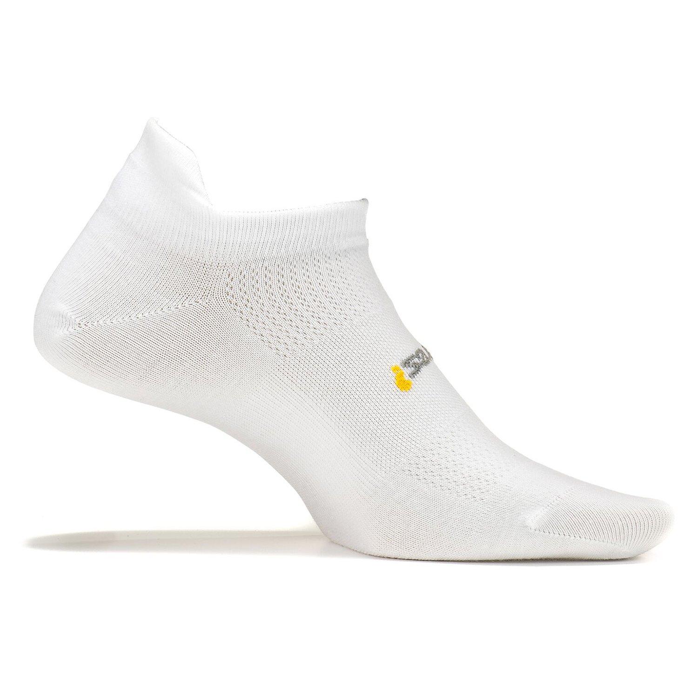 Feetures! Men's High Performance Ultra Light No Show Tab, White, Medium