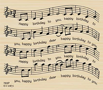 Amazon Birthday Sheet Music Rubber Stamp By DRS Designs Arts
