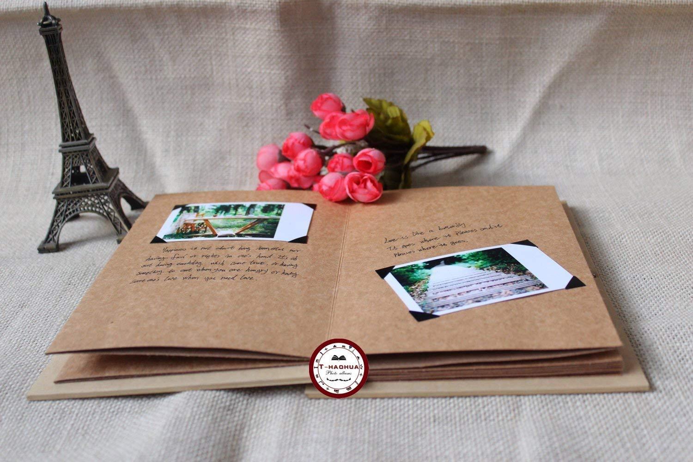 T-HAOHUA Hand Made Hardcover Kraft Paper Folding Photo Album,Pixar Up Movie Theme DIY Photo Album,Anniversary Scrapbook,Wedding Photo Album