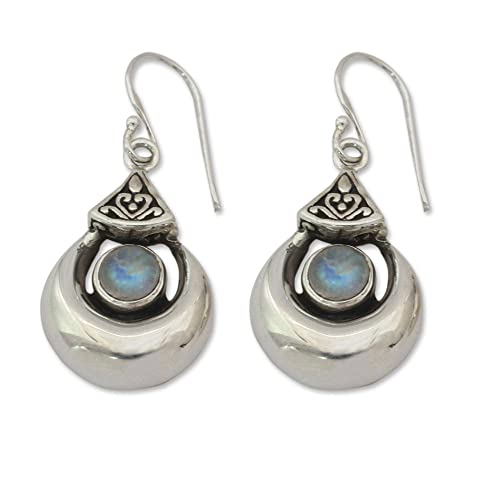 NOVICA Rainbow Moonstone .925 Sterling Silver Dangle Hook Earrings, Goddess Fortunes
