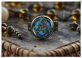 Nodo celtico Triquetra anello, anello, celtico Triquetra, triquetra, gioielli blu celtico triangolo anello, anello, anello da uomo, anello regolabile, un bellissimo regalo. Elf House L007