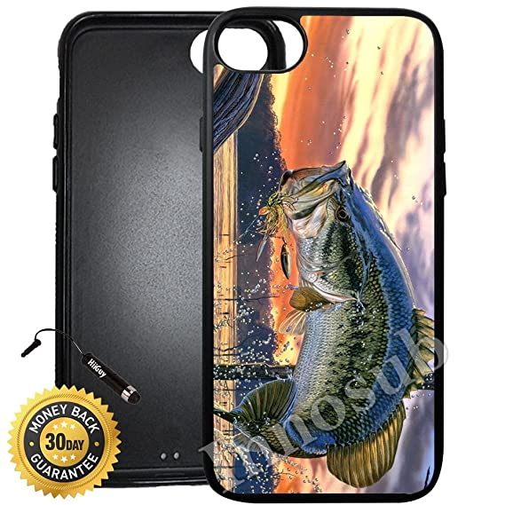 huge selection of a53a0 a9ea6 Custom iPhone 7 Case (Pro Fishing Bass Mouth) Edge-to-Edge Rubber Black  Cover with Shock and Scratch Protection   Lightweight, Ultra-Slim    Includes ...