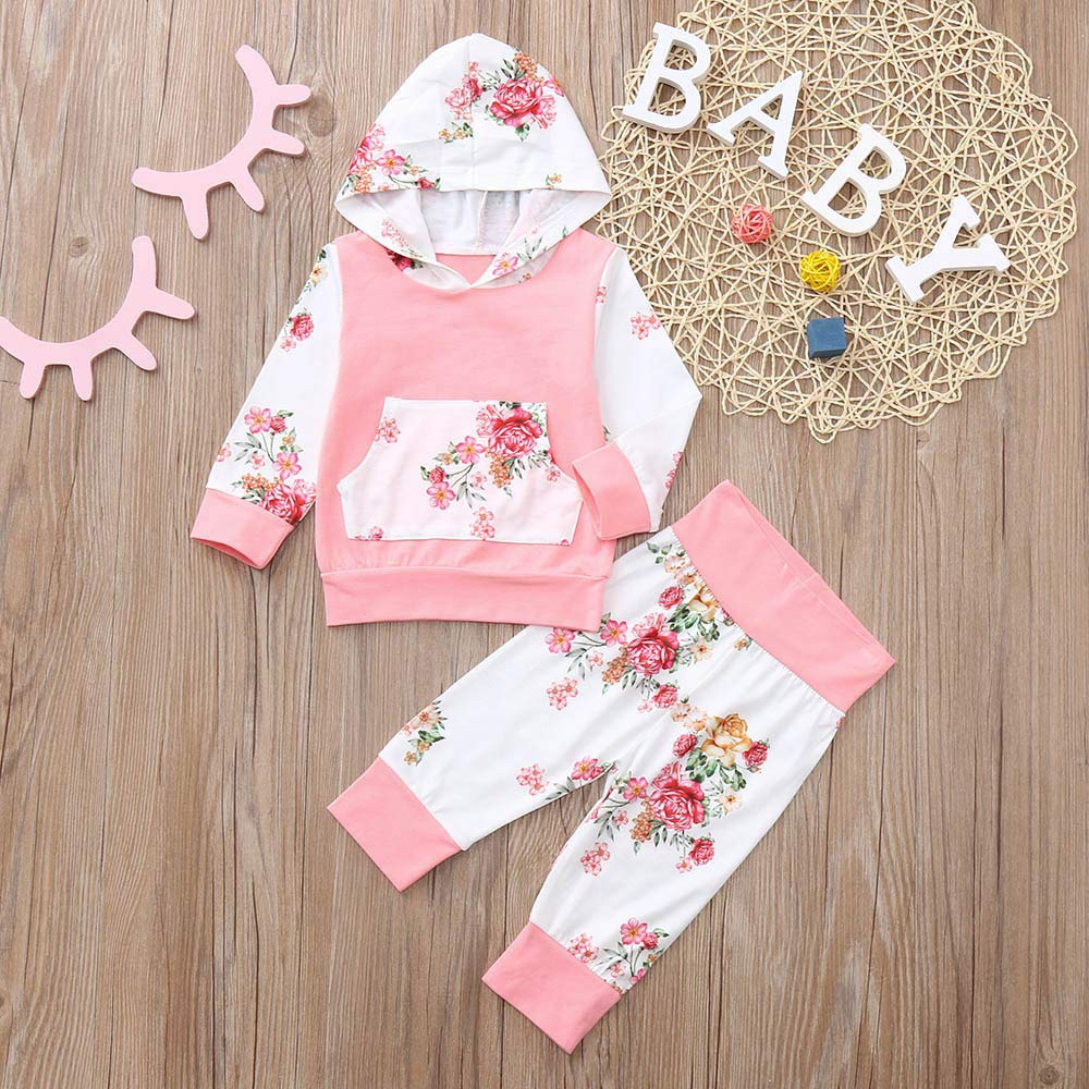 Amazon.com: kaiCran Toddler Newborn Baby Girls Floral Outfits Long Sleeve Hooded Tops +Pants Sweet Clothes Sets (Pink, 80(6-12 Months)): Clothing