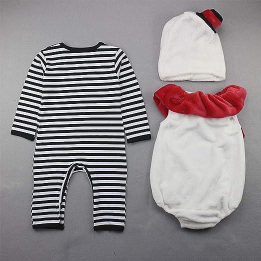 Bebé Navidad Pelele Mameluco + Chaleco + Gorra Disfraz de Muñeco de Nieve 3 Piezas Conjunto: Amazon.es: Bebé