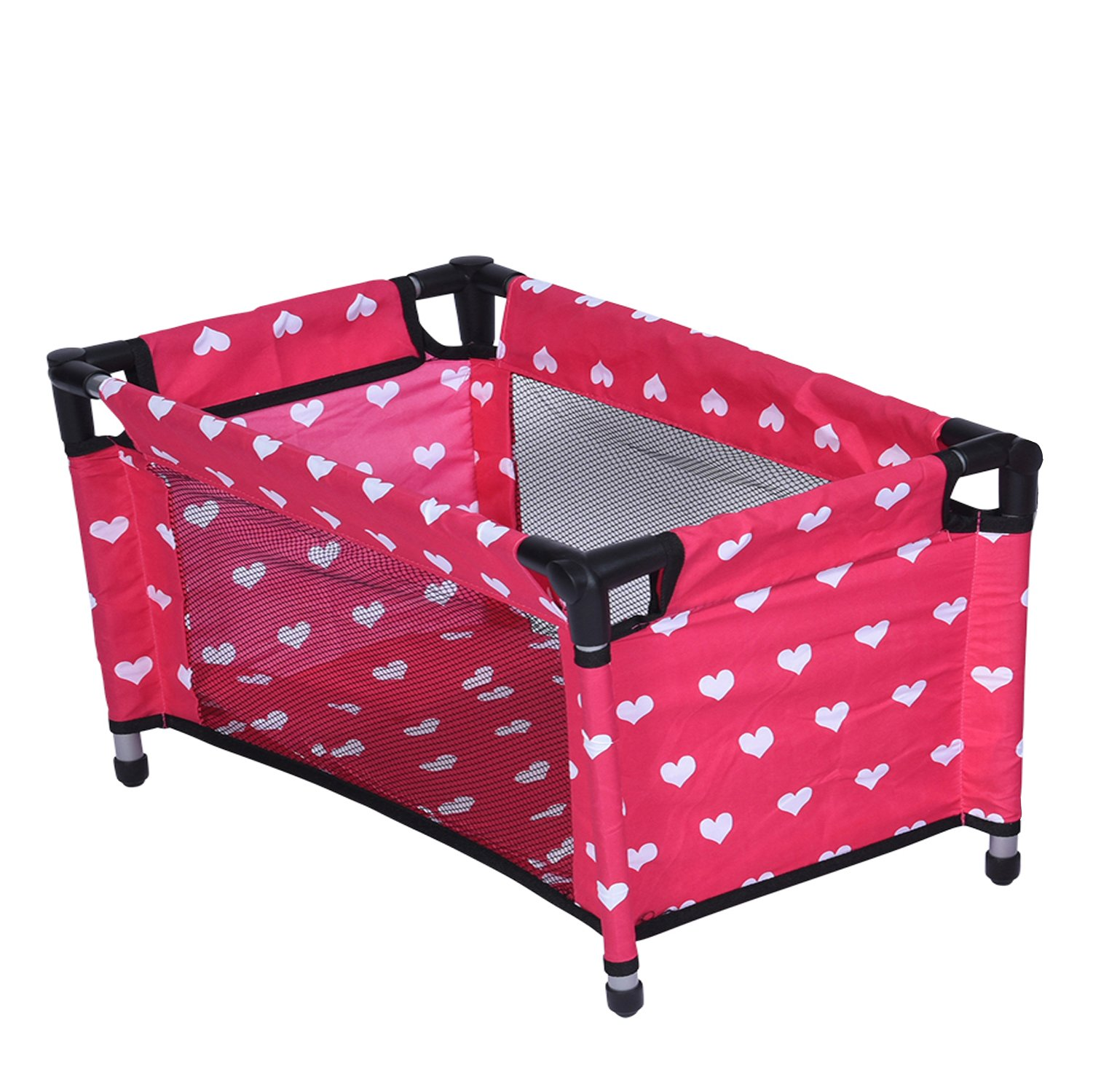 Doll Fold n' Store Pack N' Play - Doll Play Yard with Cute Hearts Design by The New York Doll Collection