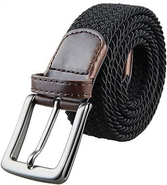 Samtree Braided Woven Belt for Men,Elastic Fabric Web Belts Stretch Strap Buckle