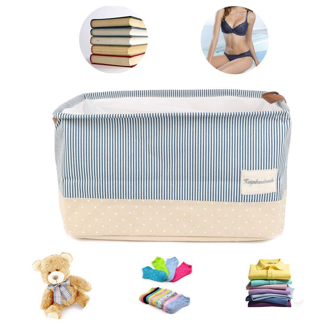 Amazon.com: eDealMax Cestas de almacenamiento p lino del algodón de la cesta de lavadero w Con cordón de cierre se doblan las manijas de Nursery, Closet, ...