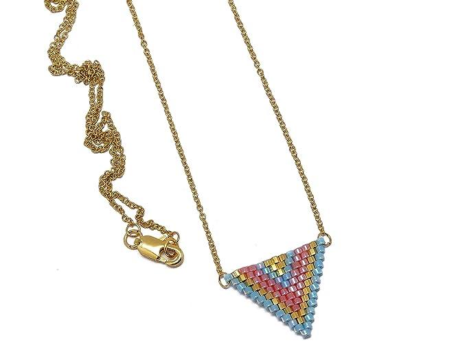 0035c1de506d collar perlas japonesas azul turquesa rosa oro triángulo tejer chevron  cadena de acero inoxidable regalos personalizados