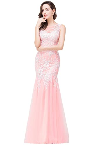 Babyonline Pink Lace Mermaid Evening Gowns Sheer Backless Long Formal Dress