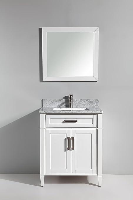 Terrific Vanity Art 30 Inch Bathroom Vanity Set With Carrara Marble Stone With Free Mirror Va2030 W Download Free Architecture Designs Scobabritishbridgeorg