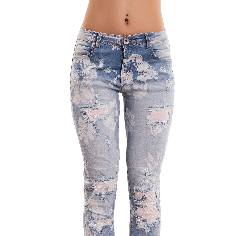 Jeans Donna Pantaloni Cavallo Basso Skinny Fiori Slim Strappi Nuovi D11146 Toocool
