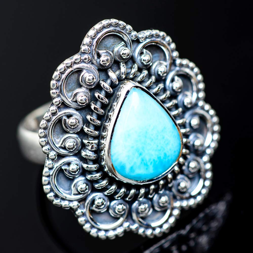 Ana Silver Co Larimar Ring Size 7 Vintage RING940800 925 Sterling Silver Bohemian - Handmade Jewelry