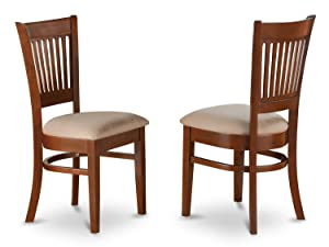 East West Furniture VAC-ESP-C Microfiber Upholstered Seat Chairs for Dining Room, Espresso Finish, Set of 2