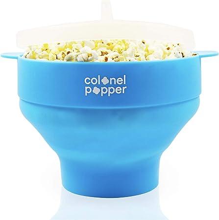 Colonel Popper Microondas palomitas tazón de silicona popper de aire - utilizar cualquier granos, sal, aceite (azul): Amazon.es: Hogar