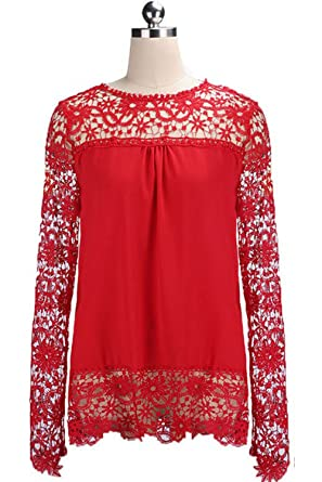 8158f06f3c Zumeet Women Top Lace Decorated Loose Waist Shirt and Blouse Red at ...