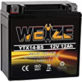 Weize YTX14 BS ATV Battery High Performance - Maintenance Free - Sealed AGM YTX14-BS Motorcycle Battery compatible with…