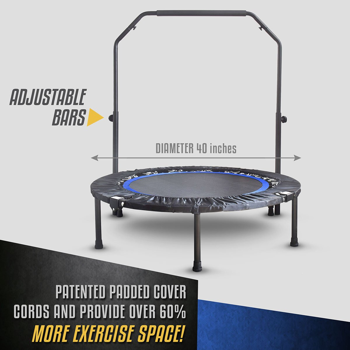 Mini Exercise Trampoline for Adults - Indoor Fitness Rebounder with Adjustable Handle Bar for Kids - Spring Cover and Folding Legs For Small Storage by Activox (Image #4)