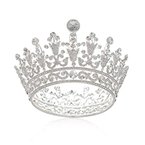 SWEETV Full Round Crystal Queen Crown for Women, Rhinestone Tiara Cake Topper for Birthday Pageant Prom Wedding Baby Shower, Silver