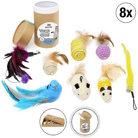 Amazy Juguetes colgantes (8 piezas): juguetes adicionales para la caña de pescar de