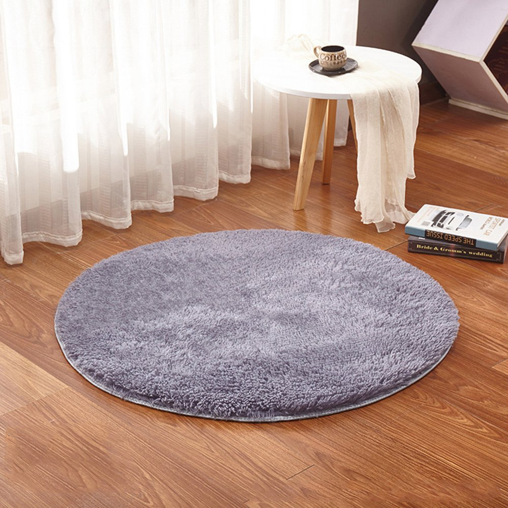 WDDH 3.2 Feet Luxury Plush Round Area Rugs Floor Mat Super Soft Home Decorator Living Room Bedroom Carpet Woman Yoga Mat Kids Play Rug Khaki