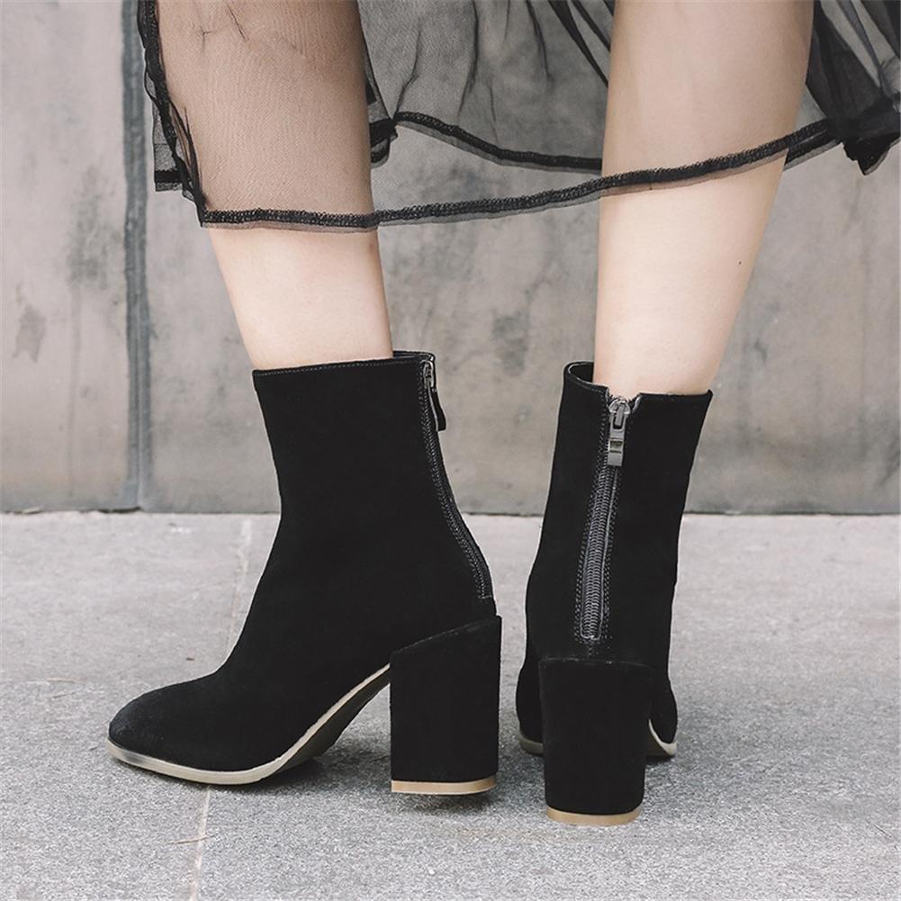 Damen Kurze Stiefel Neue Mode Mode Mode Stiefel Quadratischer Kopf Mid Rough Heel Echtes Leder Scrub Herbst Winter 40b008