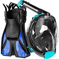 COZIA DESIGN Snorkel Set Adult - Full Face Snorkel Mask and Adjustable Swim Fins, 180° Panoramic View Scuba Mask, Anti…