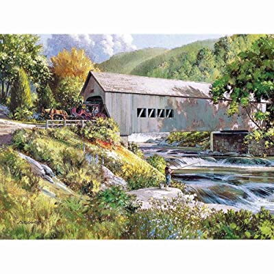Cobble Hill Puzzles Covered Bridge by Artist Douglas Laird 275 Piece Landscapes & Scenery Large Piece Jigsaw Puzzle: Toys & Games