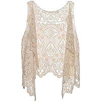 Loritta Women Crochet Lace Vest Open Stitch Cardigan Boho Hippie Floral Hollow Out Vest