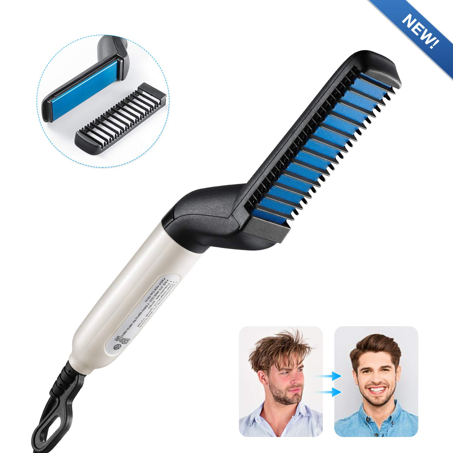Electric Hair Comb, RIOFLY Quick Beard Hair Styler Comb, Electric Beard Straightener for Men, Multifunctional Hair Comb Curling Iron, Men's Professional Quick Hair Styler