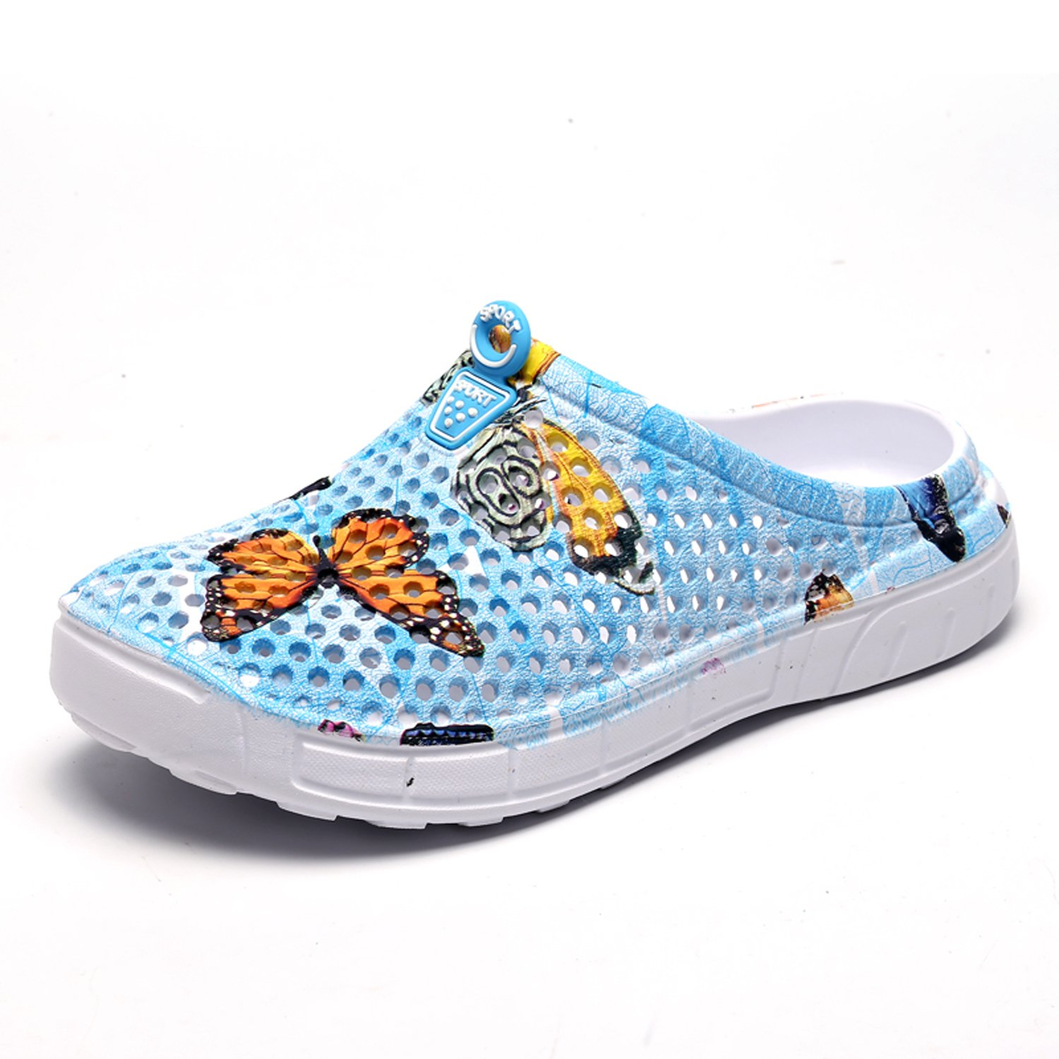 OUYAJI Garden Clog Shoes Slippers Beach Footwear Womens Summer Breathable Mesh Sandals 161-6Sky Blue-40