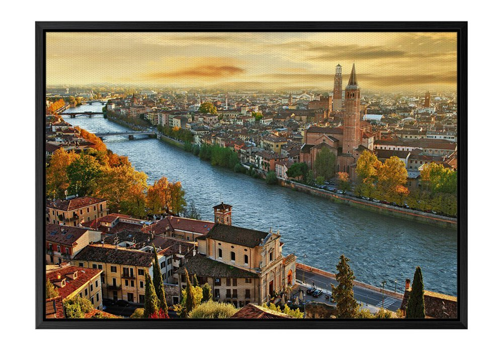 Italy City Building Black Wooden Frame Art Print Canvas Poster, Home Wall Decor(12x16x1.4 inch)