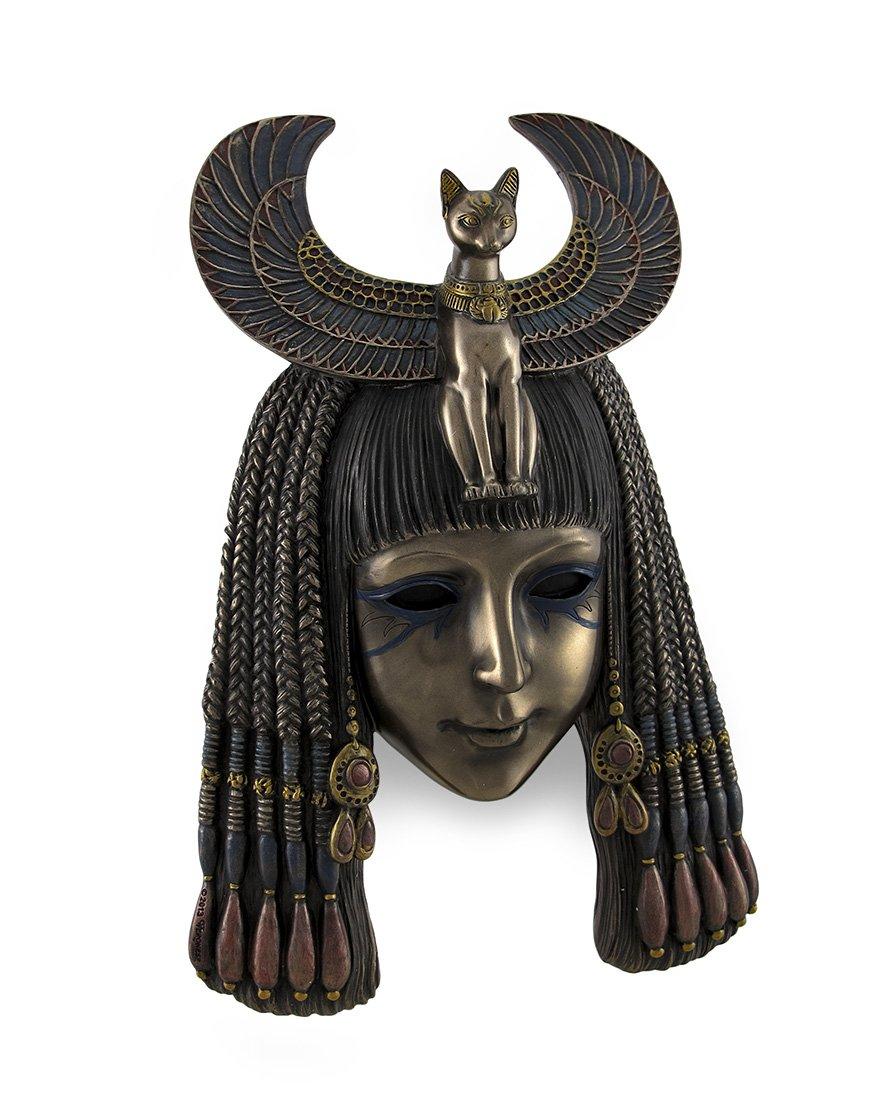 Egyptian Goddess Bastet Headdress Mask Bronzed Wall Hanging