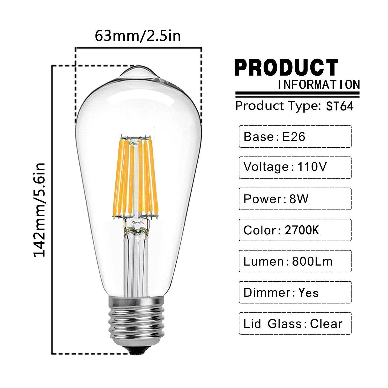 E26 Medium Base Dimmable 80W Equivalent Pack of 3 800LM 2700K Warm White Glow 110V 360 Degree Beam Angle AieII ST64 LED Edison Bulb 8W
