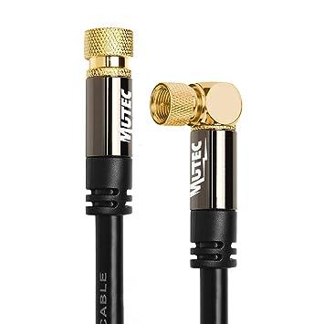 MutecPower 3m Sat Cable coaxial de la Antena Conector Angular de 90 ° F en F