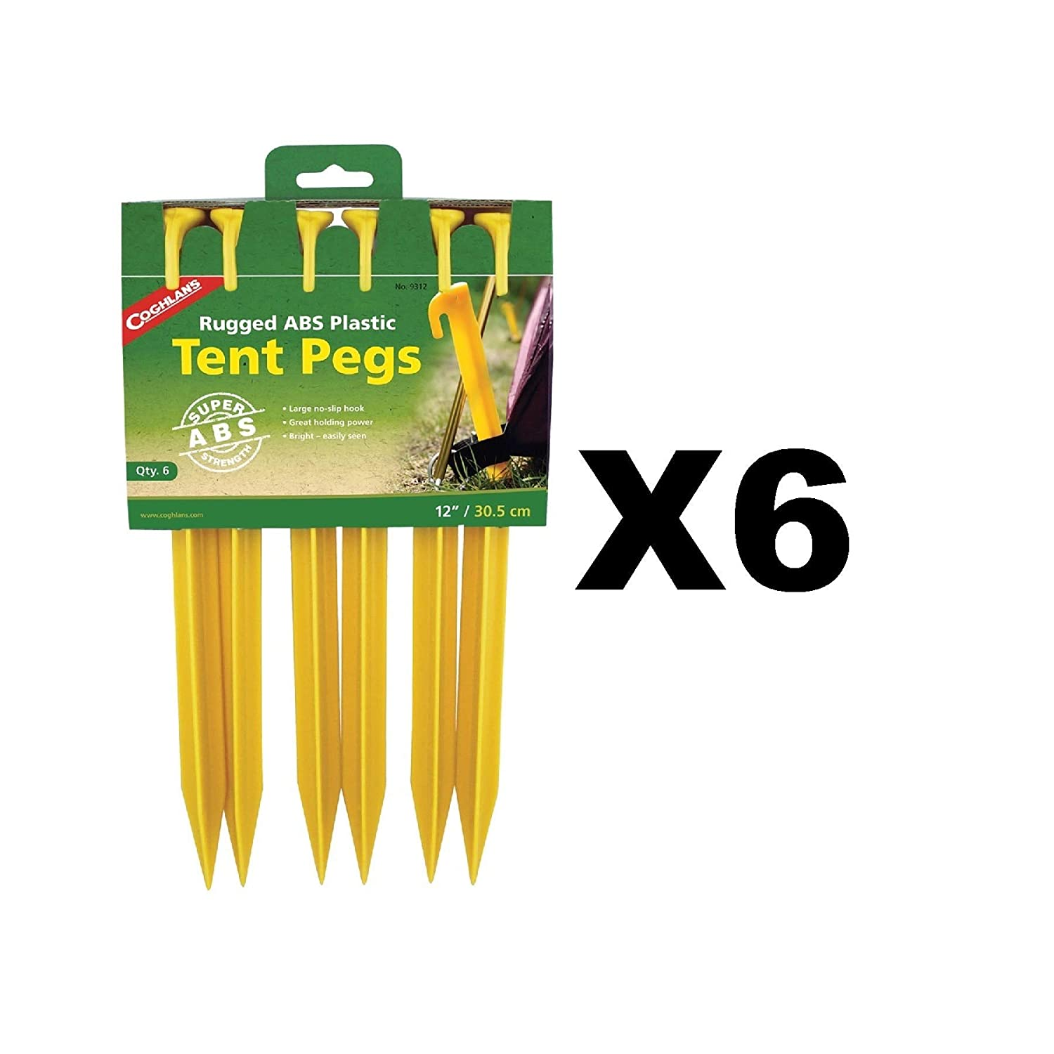 Tent Pegs Abs Bright 12in 6 Pk by Coghlans Coghlan'S Ltd