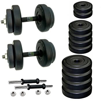 712ad8ae9d9 Buy Body Maxx Adjustable Dumbells 10 Kg Pvc Weight Plates With 2 Iron Rods  Online at Low Prices in India - Amazon.in