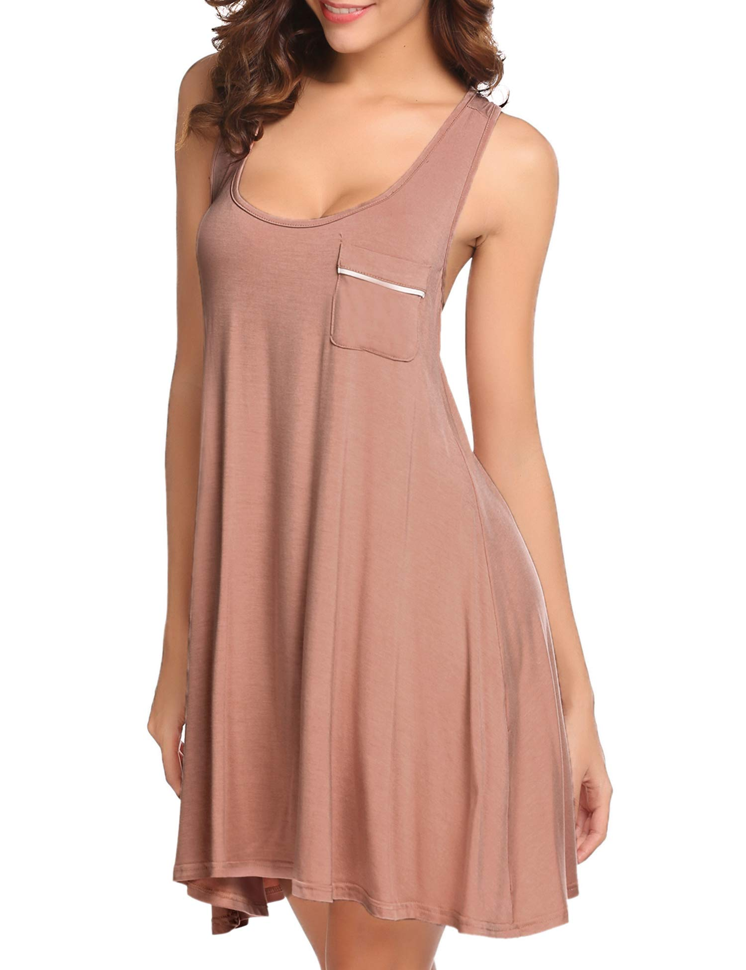 Vesmatity Pajama Gown Womens Comfortable Sleepwear Chemise (Nude, Medium)