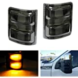 iJDMTOY (2) Smoked Lens Amber LED Side Mirror Marker Lights Set For 2008-2016 Ford F-250 F-350 F-450 F-550 Super Duty