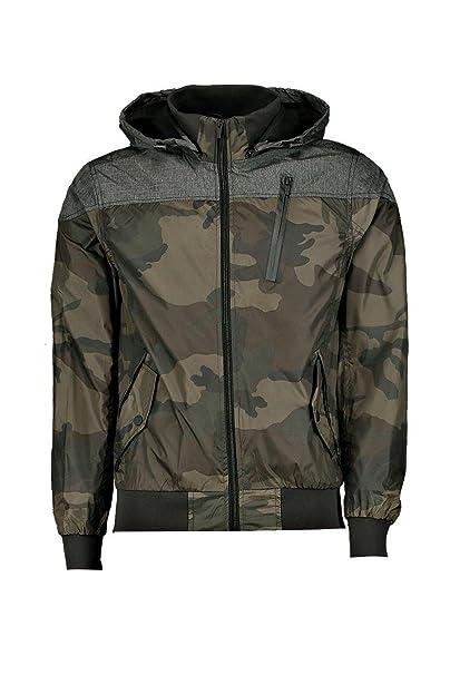 Momo Fashions - Chaqueta - Bomber Jacket - para hombre Denim -Camo tamaño