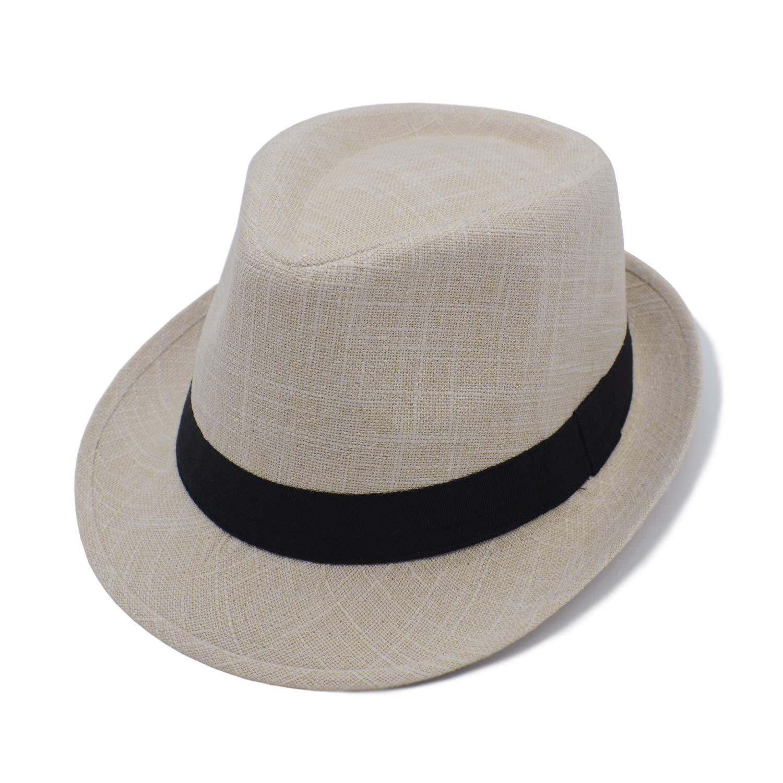 Four Seasons Sun Jazz 58cm Checked Black Belt JEEDA Mens and Womens Neutral Cotton Flat hat