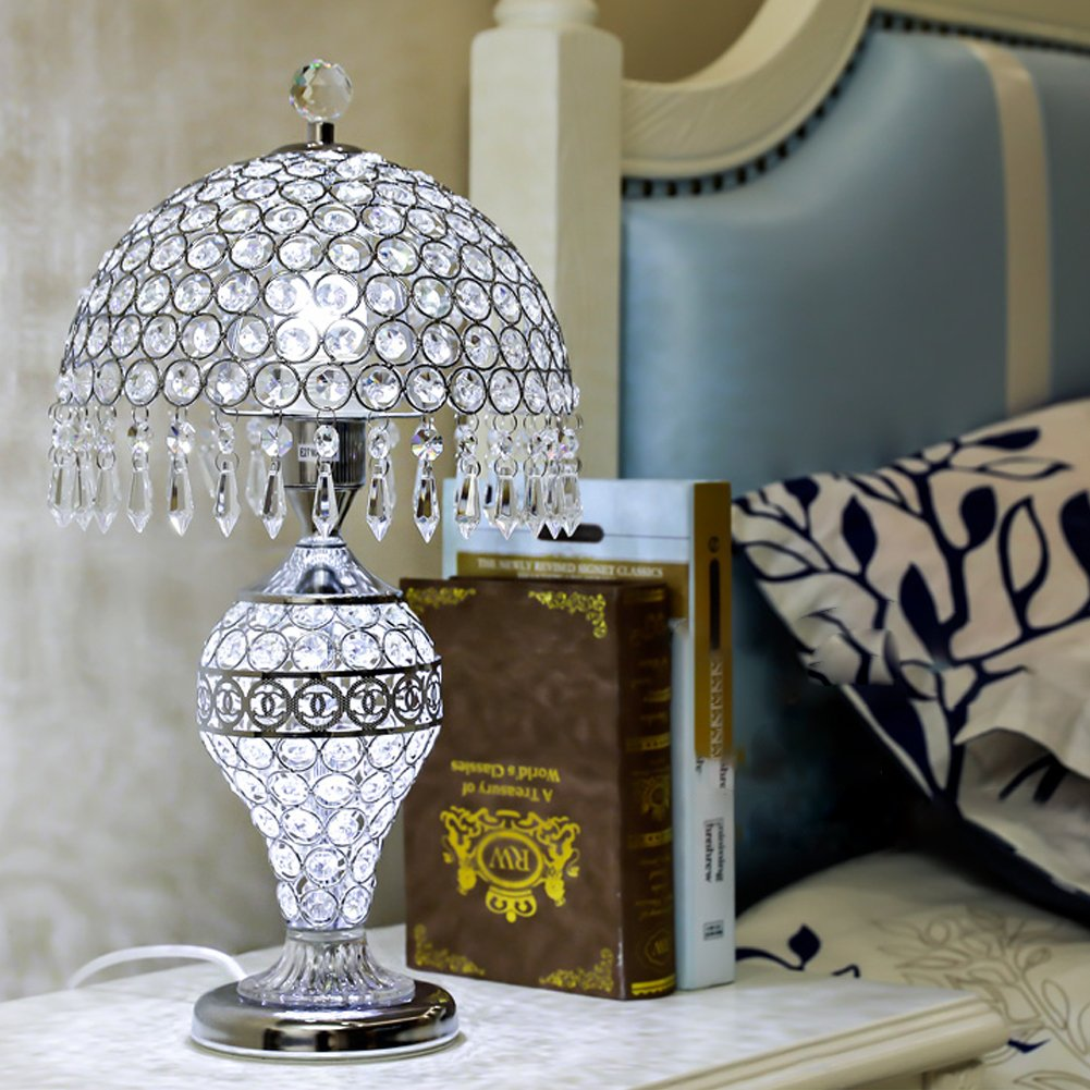 LgoodL Crystal Glass Table Lamp Bedroom Bedside Lamp Living Room Luxury Wedding Decorative Table Lamp Creative Table Lamp D25xH48CM (Remote control) SILVER