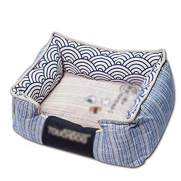 Pet bed Cama Rectangular Azul para Mascota Algodón Lavable Four Seasons Cama para orinar para Perros Cama para Perros y Gatos para Mascotas (Size : 65cm): ...