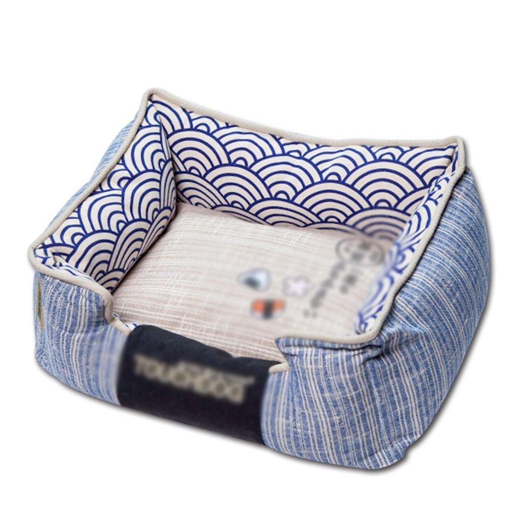 65cm BEDS Dogs Furniture bluee rectangular pet Four Seasons washable cotton wool Nesting dog hole Pet cat and dog (Size   65cm)