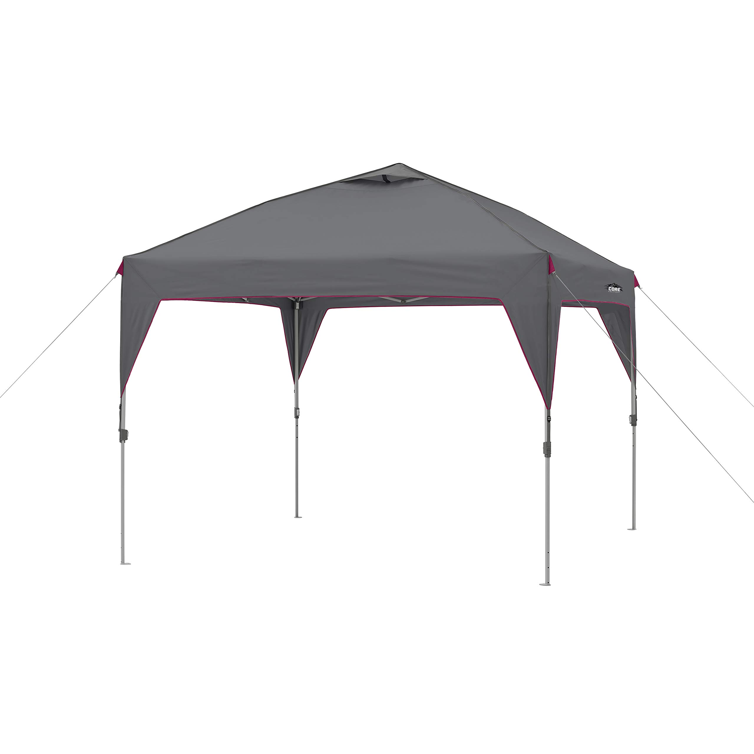 CORE 10' x 10' Instant Shelter Pop-Up Canopy Tent with Wheeled Carry Bag (Seal Gray) by CORE