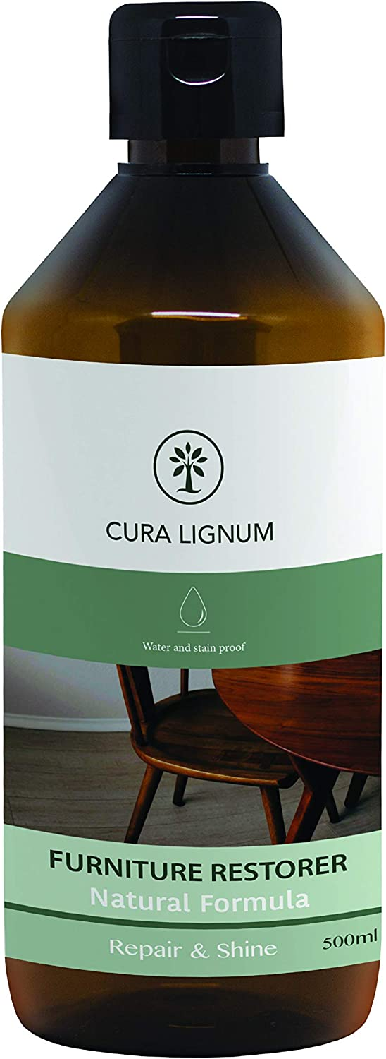 Cura Lignum Furniture Restorer I 16.9 Fl Oz I Wood Restorer, Conditioner and Protector I Long Lasting Shiny Finish with Boiled Linseed Oil I Suitable for All Types of Wooden Furniture