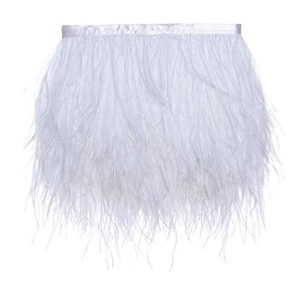 f7436788d Amazon.com: Ostrich Feathers Trims Fringe with Satin Ribbon Tape for Dress  Sewing Crafts Costumes Decoration Pack of 2 Yards (White