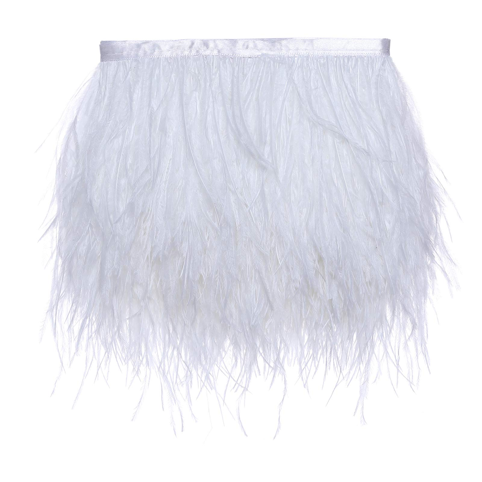 White KOLIGHT Pack of 10 Yards Natural Dyed Ostrich Feathers Trim Fringe 4~5inch for DIY Dress Sewing Crafts Costumes Decoration