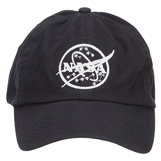 E4hats White NASA Logo Embroidered Low Cap - Black OSFM. Roll over image to  zoom in e4fe9bd3d526