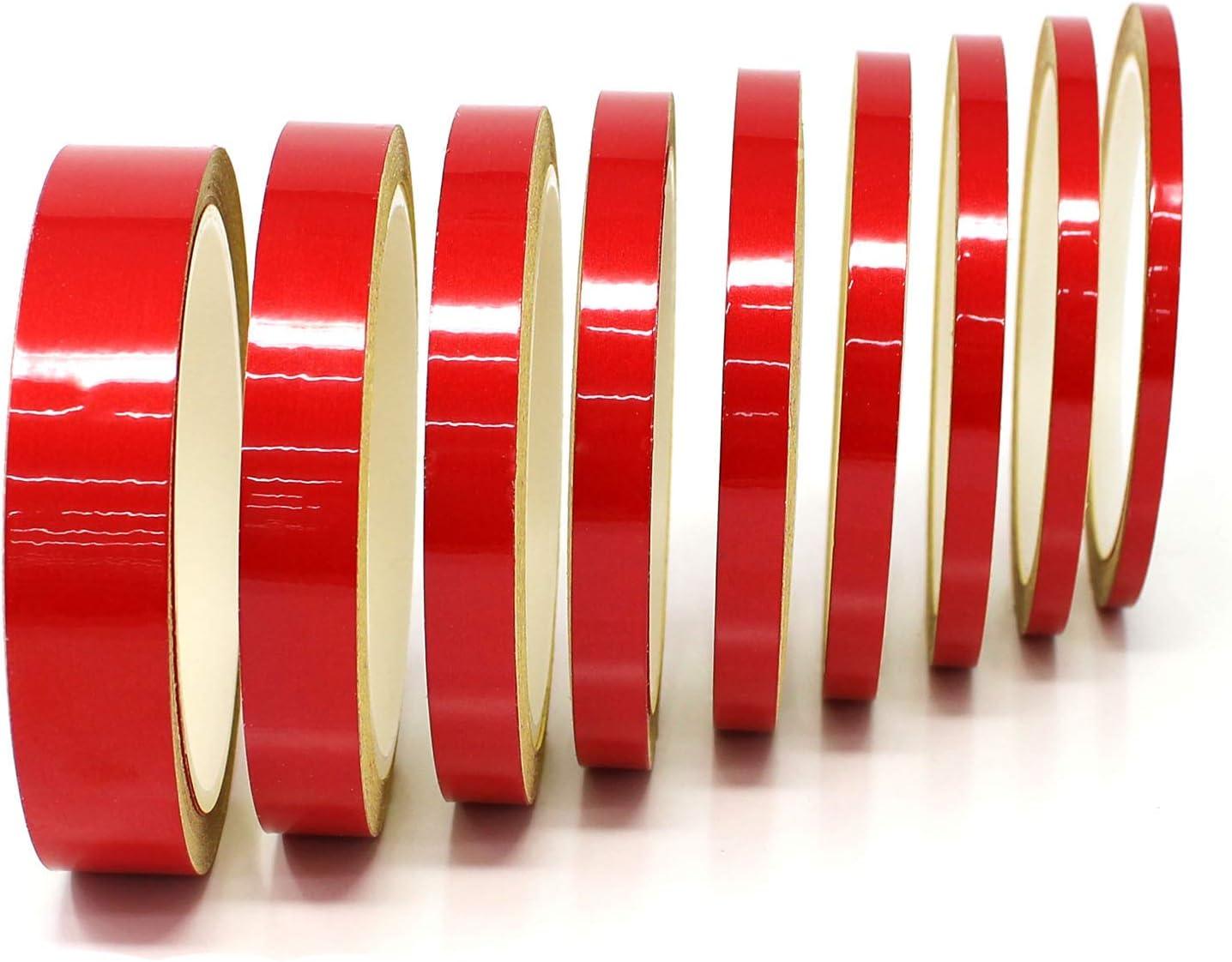10 Meter 0,79/€//Meter Reflektierend Rot, 9mm Breite Finest Folia Dekorstreifen Seitenstreifen Klebestreifen Zierstreifen Auto Motorrad Boot Modellbau Farbauswahl